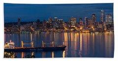 Elliott Bay Seattle Skyline Night Reflections  Beach Towel