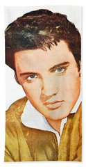 Elvis Colored Portrait Beach Towel