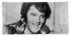 Elvis Presley Rock N Roll Star Beach Sheet by Georgi Dimitrov
