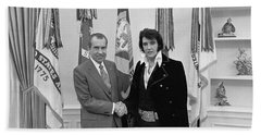 Elvis Presley And Richard Nixon-featured In Men At Work Group Beach Sheet