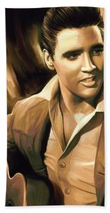 Elvis Presley Artwork Beach Sheet by Sheraz A