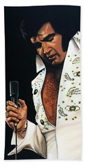 Elvis Presley Painting Beach Towel by Paul Meijering