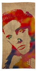 Elvis Presley Watercolor Portrait On Worn Distressed Canvas Beach Sheet by Design Turnpike