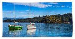 Emerald Bay Boats Beach Towel