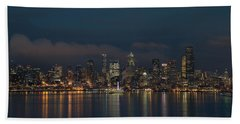 Emerald City At Night Beach Sheet by E Faithe Lester
