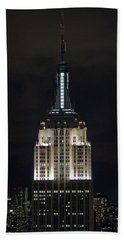 Empire State Building At Night Beach Sheet