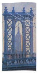 Empire State Building Through The Manhattan Bridge Beach Towel