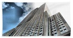 Empire State Building - Vertigo In Reverse Beach Towel