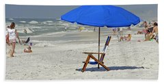 Beach Towel featuring the photograph Empty Beach Chair by Charles Beeler