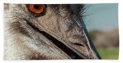 Emu Closeup  Beach Sheet by Robert Frederick