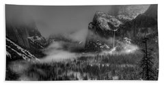 Enchanted Valley In Black And White Beach Towel