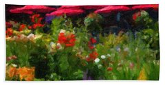 English Country Garden Beach Towel