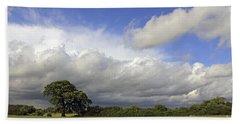 English Oak Under Stormy Skies Beach Sheet
