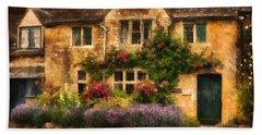 English Stone Cottage Beach Towel