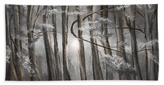 Enigmatic Woods- Shades Of Gray Art Beach Towel