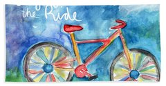 Enjoy The Ride- Colorful Bike Painting Beach Sheet