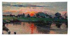 Enjoying The Sunset By Elmer's Pond Beach Towel