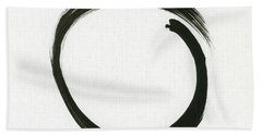 Enso #1 - Zen Circle Minimalistic Black And White Beach Sheet