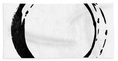 Enso No. 107 Black On White Beach Towel