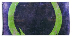 Enso No. 108 Green On Purple Beach Towel