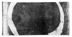 Enso No. 109 White On Black Beach Towel
