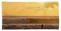 Beach Towel featuring the photograph Enter The Surfer by AJ  Schibig