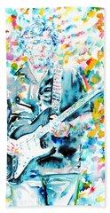 Eric Clapton - Watercolor Portrait Beach Sheet by Fabrizio Cassetta