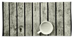 Espresso On A Wooden Table Beach Sheet