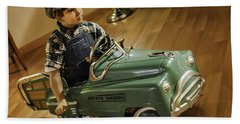Beach Towel featuring the photograph Estate Wagon Pedal Truck by Betty Denise