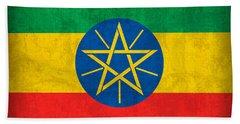 Ethiopia Flag Vintage Distressed Finish Beach Towel