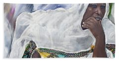 Beach Towel featuring the painting Ethiopian Orthodox Jewish Woman by Vannetta Ferguson