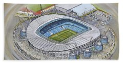 Etihad Stadium - Manchester City Beach Towel by D J Rogers