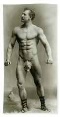 Eugen Sandow In Classical Ancient Greco Roman Pose Beach Towel