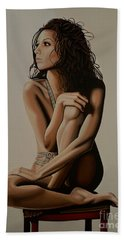 Eva Longoria Painting Beach Towel by Paul Meijering