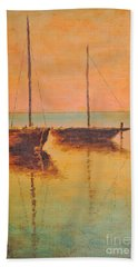 Evening Boats Beach Sheet by Martin Capek