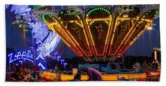 Evening Carnival Rides Beach Towel