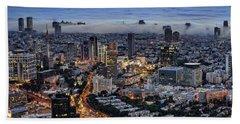 Evening City Lights Beach Towel