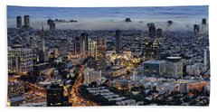 Evening City Lights Beach Towel by Ron Shoshani