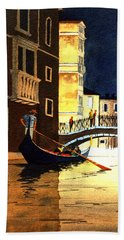 Beach Towel featuring the painting Evening Lights - Venice by Bill Holkham