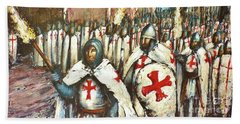 Templar Procession  Beach Towel
