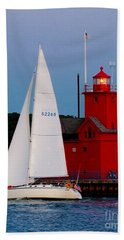 Evening Sail At Holland Light Beach Towel by Nick Zelinsky