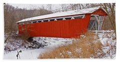 Everett Rd. Covered Bridge In Winter Beach Towel