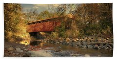 Everett Rd Summit County Ohio Covered Bridge Fall Beach Towel