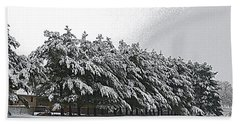 Evergreens In Snow Beach Towel by Luther Fine Art