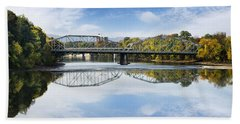 Beach Sheet featuring the photograph Exchange St. Bridge Rock Bottom Dam Binghamton Ny by Christina Rollo