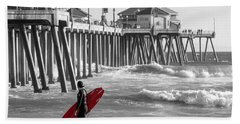 Existential Surfing At Huntington Beach Selective Color Beach Towel