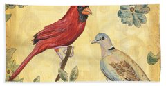 Exotic Bird Floral And Vine 2 Beach Towel by Debbie DeWitt