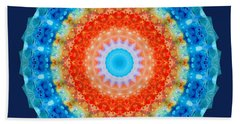 Expanding Energy 1 - Mandala Art By Sharon Cummings Beach Towel