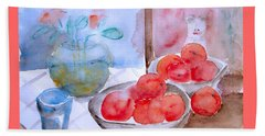 Beach Towel featuring the painting Expectation by Jasna Dragun