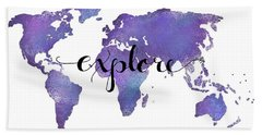 Explore World Map Painting Beach Towel